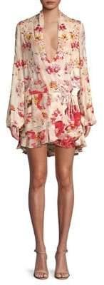 Rococo Sand Plunging Silk Wrap Dress