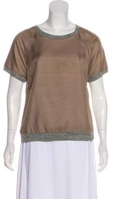 Loeffler Randall Scoop Neck Short Sleeve Top