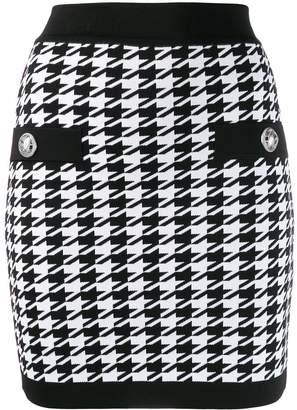 Balmain houndstooth knitted mini skirt