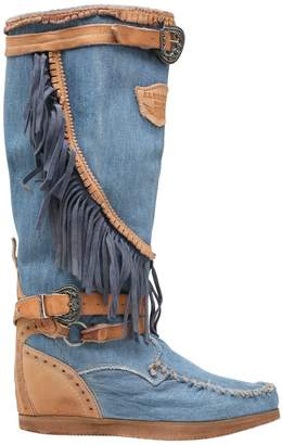 EL VAQUERO 70mm Joplin Denim & Leather Wedge Boots
