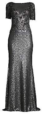 Basix Black Label Women's Embellished Sequin Illusion Neckline Gown