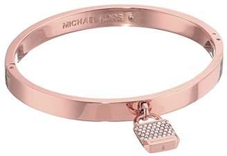 Michael Kors Iconic Haute Hardware Logo -Tone and Pave Padlock Hinged Bangle Bracelet