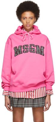 MSGM SSENSE Exclusive Pink Logo Hoodie