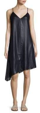 ATM Anthony Thomas Melillo Lacquered Asymmetrical Hem Slip Dress