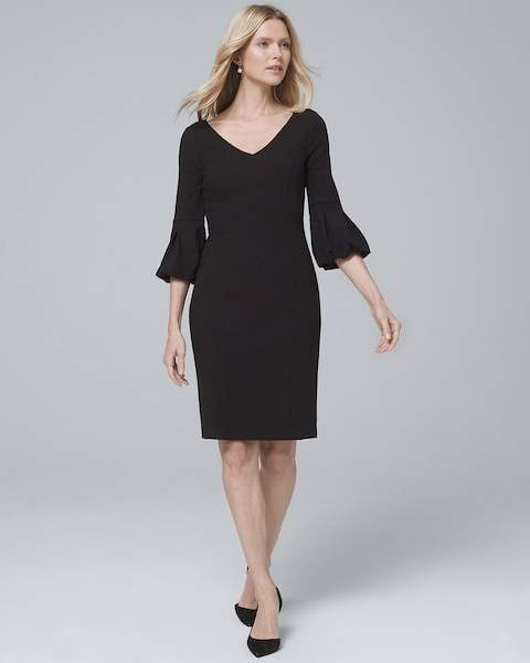 Whbm Body Perfecting Lantern-Sleeve Black Sheath Dress