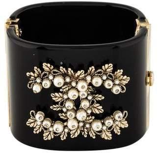 Chanel CC Resin Faux Pearl Cuff