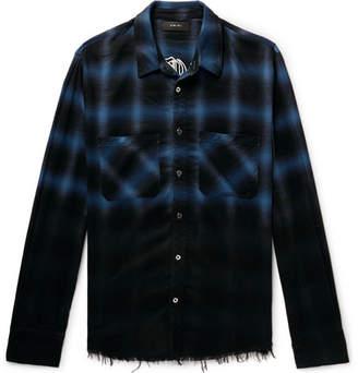 Amiri Appliquéd Distressed Checked Cotton-Flannel Shirt