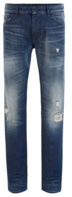 BOSS Regular-fit jeans in distressed Candiani denim