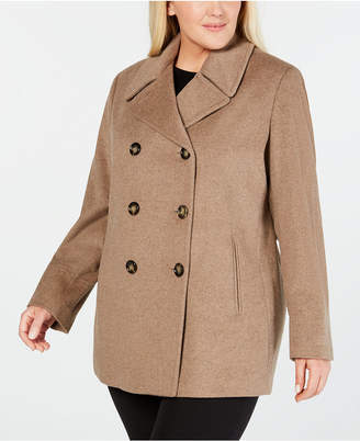 Calvin Klein Plus Size Wool-Cashmere-Blend Peacoat