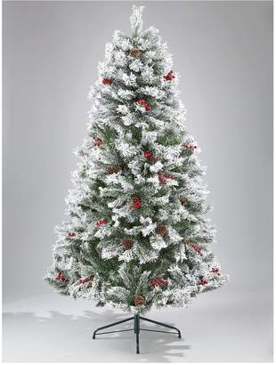 Very 7ft Bavarian Pine Flocked Christmas Tree with Cones and Berries