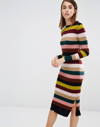 Whistles Rib Knit Dress in Multi Stripe $211 thestylecure.com
