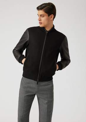 Emporio Armani Cloth Bomber Jacket With Contrasting Sleeves And Embroidery On The Back