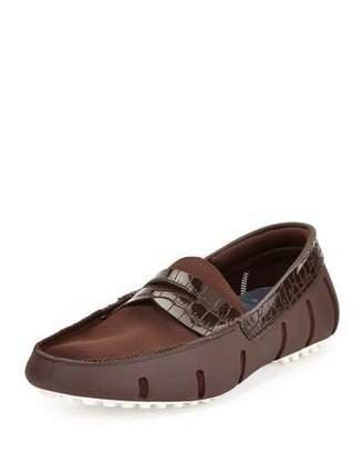 Swims Rubber Penny Loafer with Faux-Croc Trim, Brown $179 thestylecure.com