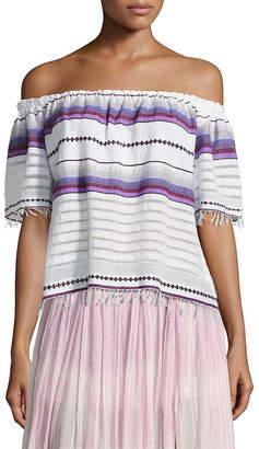 Lemlem Adia Striped Off-The-Shoulder Top