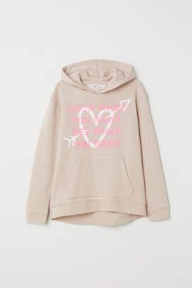 H&M Printed Hooded Sweatshirt - Beige