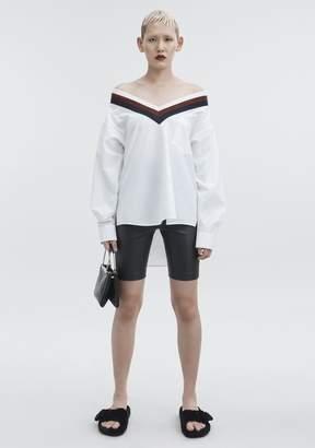 Alexander Wang Rib Trim Cotton Poplin Shirt