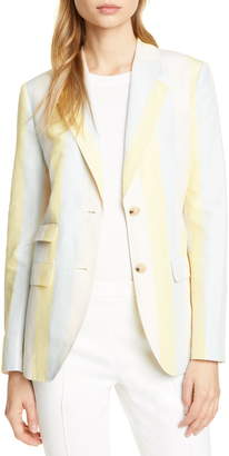 Tory Burch Stripe Silk & Linen Blazer