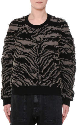 Stella McCartney Crewneck Clipped Fringe Chunky Pullover Sweater