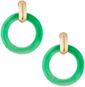 Kenneth Jay Lane Round Doorknocker Drop Earrings, Green