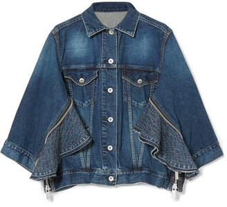Sacai Zip-embellished Denim Jacket - Dark denim