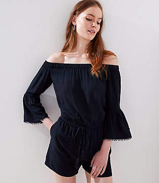 LOFT Petite Tasseled Off The Shoulder Romper
