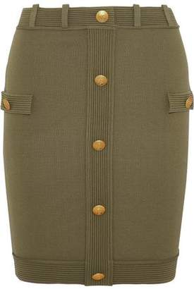 Pierre Balmain Button-Embellished Stretch-Knit Mini Skirt