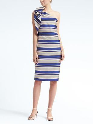 One-Shoulder Bow Stripe Dress $148 thestylecure.com