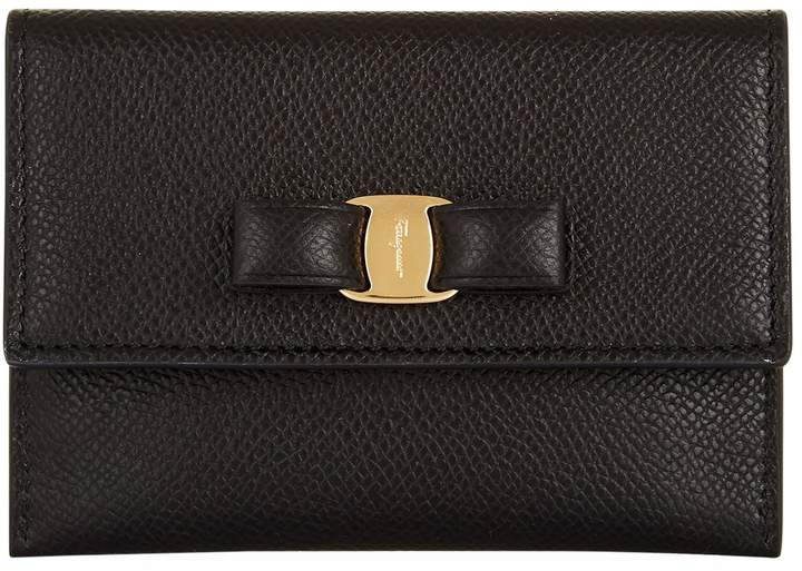 Salvatore Ferragamo Vara Bow Card Holder, Black, One Size