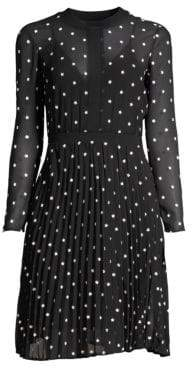 Maje Illusion Embroidered Dress