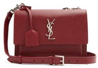 Saint Laurent Sunset Medium Leather Cross Body Bag - Womens - Burgundy