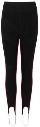 Calvin Klein Black Striped Ribbed-knit Leggings