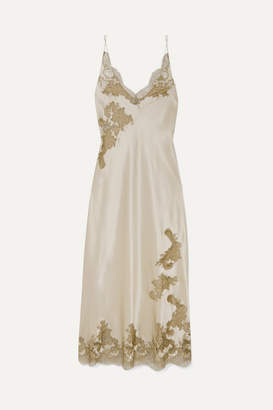 Carine Gilson Chantilly Lace-trimmed Silk-satin Chemise - Gold