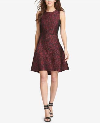 DKNY Jacquard Fit & Flare Dress