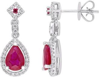 14K Gold 1.75 cttw Ruby & Diamond Pear Drop Earrings
