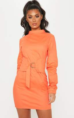 PrettyLittleThing Orange High Neck Utility D Ring Bodycon Dress