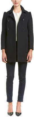 Maje Gabrielle Leather-Trim Wool-Blend Coat
