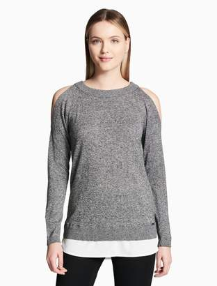 Calvin Klein marled double layered cold shoulder top