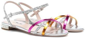 Miu Miu Leather-trimmed sandals
