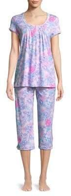 Miss Elaine Two-Piece Floral-Print Pajama Set