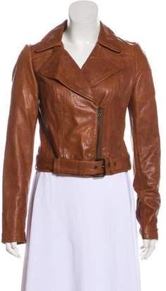 Paige Notch-Lapel Leather Jacket
