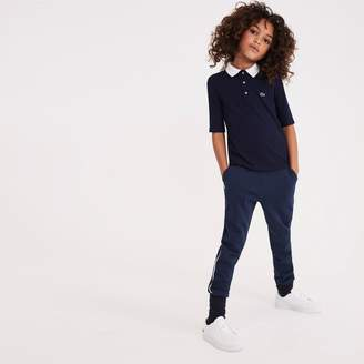 Lacoste Girls' Contrast Neck Stretch Ribbed Knit Polo