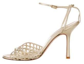 Oscar de la Renta Metallic Leather Ankle Strap Sandals