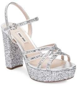 Miu Miu Glitter Platform Heeled Sandals