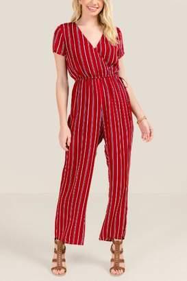 francesca's Anesa Striped Jumpsuit - Brick