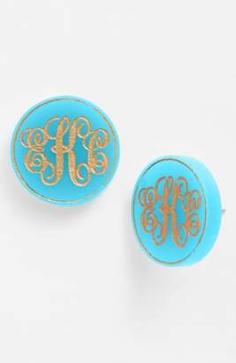 Moon and Lola 'Chelsea' Medium Personalized Monogram Stud Earrings