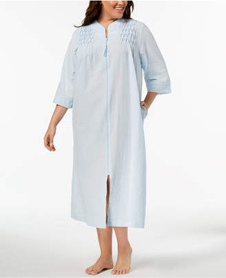 Miss Elaine Plus Size Embroidered Seersucker Zip Robe