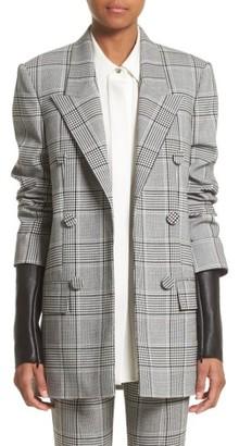 Women's Alexander Wang Leather Sleeve Check Blazer