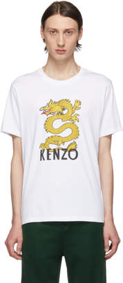 Kenzo White Limited Edition Dragon Logo T-Shirt