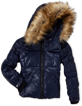 S13 Toddler Girls) Mogul Faux Fur Trim Coat