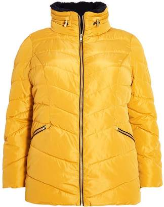 Quiz Curve Mustard Padded Faux Fur Collar Jacket